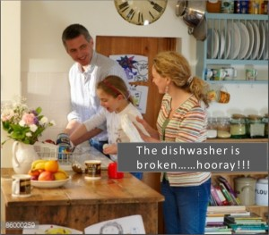 family washing up